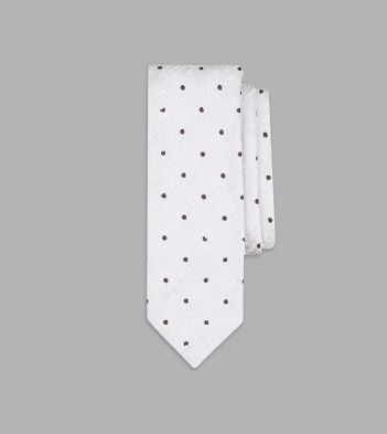 White and Brown Embroidered Spot Motif Silk Tie