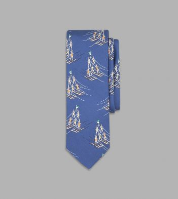Blue Water-Skiing Pyramid Print Silk Tie