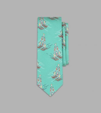 Turquoise Water-Skiing Pyramid Print Silk Tie