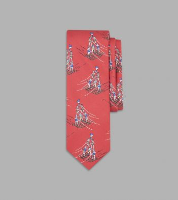 Red Water-Skiing Pyramid Print Silk Tie