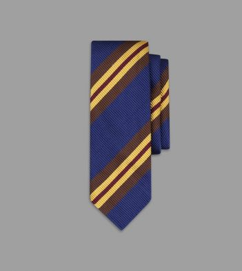 Navy, Gold and Brown Sandwich Stripe Repp Silk Tie