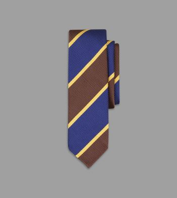 Brown, Blue and Yellow Stripe Jumbo Twill Silk Tie