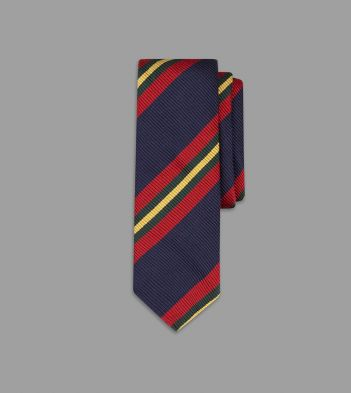 Navy, Red and Yellow Sandwich Stripe Repp Silk Tie