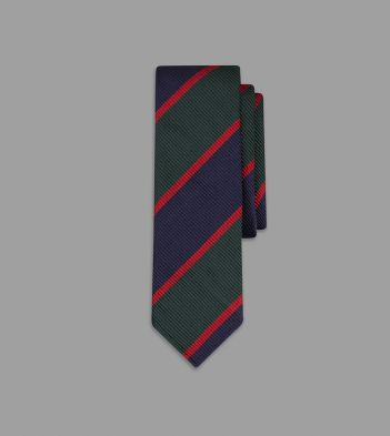 Green, Navy and Red Regimental Stripe Repp Silk Tie