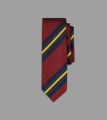 Red, Gold and Green Sandwich Stripe Repp Silk Tie