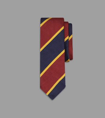 Navy, Red and Yellow Regimental Stripe Repp Silk Tie