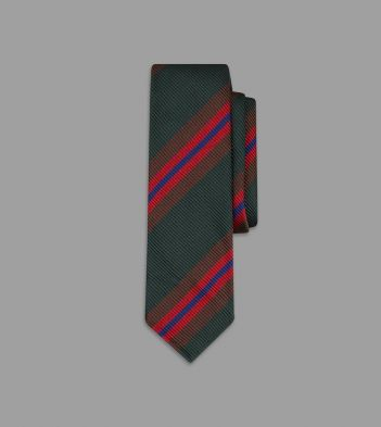 Green, Brown and Red Sandwich Stripe Repp Silk Tie