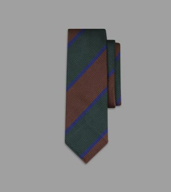 Brown, Green and Navy Regimental Stripe Repp Silk Tie
