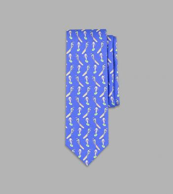Blue Surfer Print Silk Tie