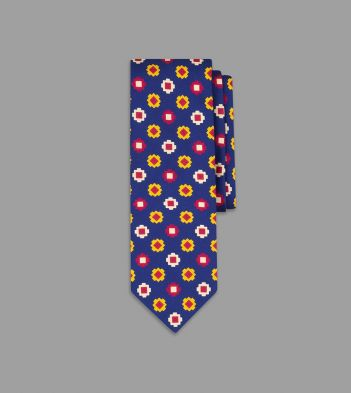 Navy, Yellow and Red Geometric Tile Print Silk Tie