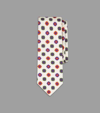 White, Purple and Green Geometric Tile Print Silk Tie
