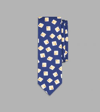 Blue and Orange Painted Square Print Silk Tie