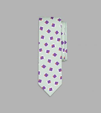 Mint Green and Purple Painted Square Print Silk Tie