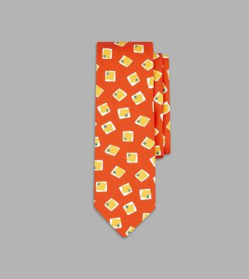 Orange and Yellow Painted Square Print Silk Tie