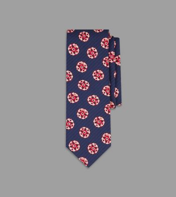 Navy and Red Circular Flower Print Silk Tie