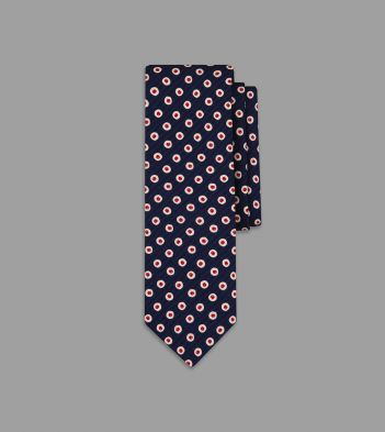 Navy and Red Bakewell Print Silk Tie