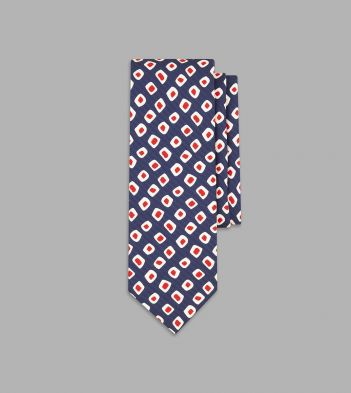 Navy and Red Painted Pip Print Silk Tie