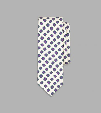 Ecru, Green and Purple Geometrical Print Tie