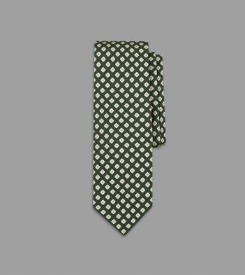Blue and Green Rounded Square Print Silk Tie