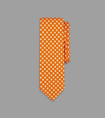 Orange and Green Rounded Square Print Silk Tie