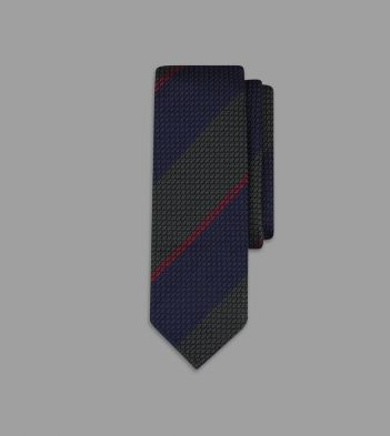 Green, Navy and Red Regimental Stripe Grenadine Silk Tie