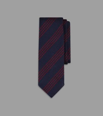 Navy and Red Quad Stripe Grenadine Silk Tie