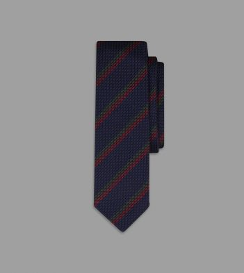 Navy and Red Single Stripe Grenadine Silk Tie