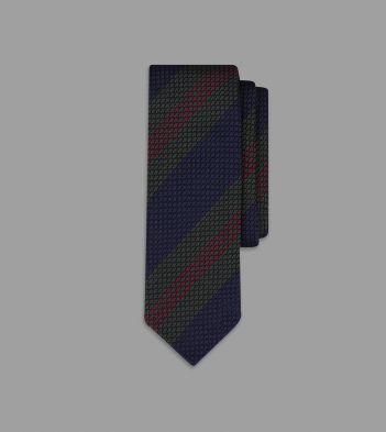 Green and Red Triple Stripe Grenadine Silk Tie