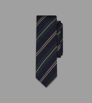 Navy Multi Stripe Grenadine Silk Tie