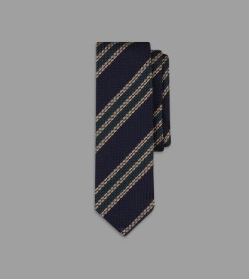 Navy Double Multi Stripe Grenadine Silk Tie