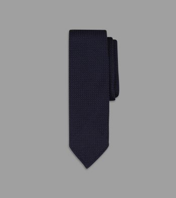 Dark Navy Handrolled Large Knot Grenadine Tie