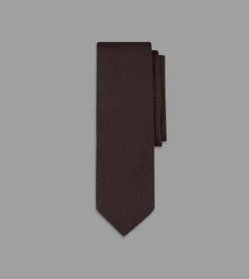 Brown Handrolled Large Knot Grenadine Tie
