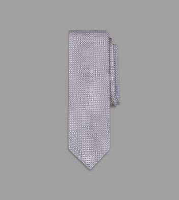 Silver Handrolled Large Knot Grenadine Tie