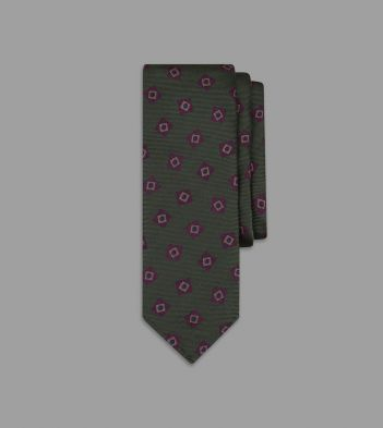Green and Brown Square Motif Silk Tie