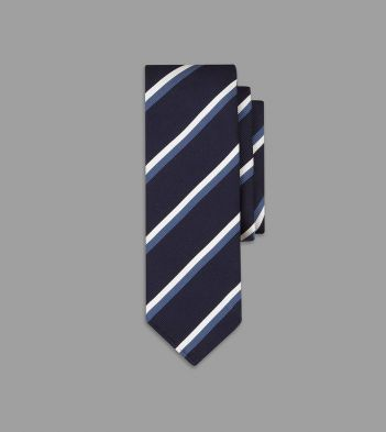 Navy, Blue and White Double Stripe Repp Silk Tie