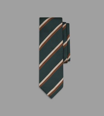Green, Brown and Ecru Double Stripe Repp Silk Tie