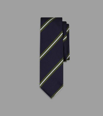 Navy, Green and White Sandwich Stripe Repp Silk Tie