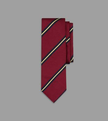 Red, Navy and Yellow Sandwich Stripe Repp Silk Tie