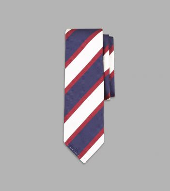 Navy, White and Red Broad Stripe Repp Silk Tie