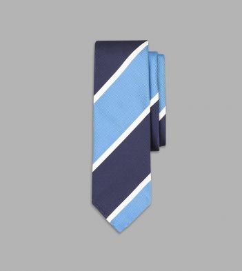Sky Blue and Navy Jumbo Stripe Repp Silk Tie