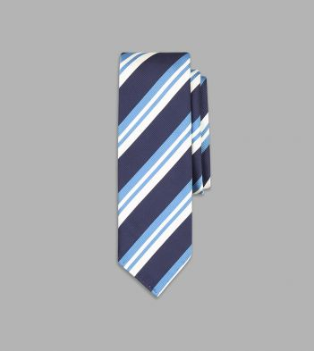 Sky Blue and Navy Multi Stripe Repp Silk Tie