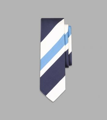 Sky Blue and Navy Irregular Stripe Repp Silk Tie