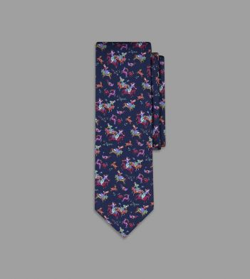 Navy Psychedelic Mughal Print Silk Tie