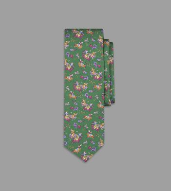 Green Psychedelic Mughal Print Silk Tie