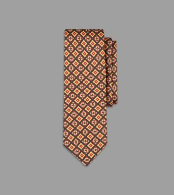 Khaki, Red and Yellow Mini Square Print Silk Tie