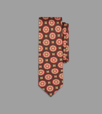 Khaki, Red and Yellow Circular Medallion Print Silk Tie