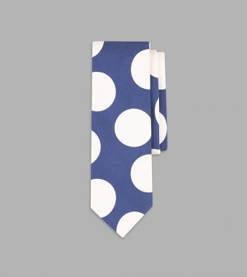 Blue and White Jumbo Spot Print Silk Tie