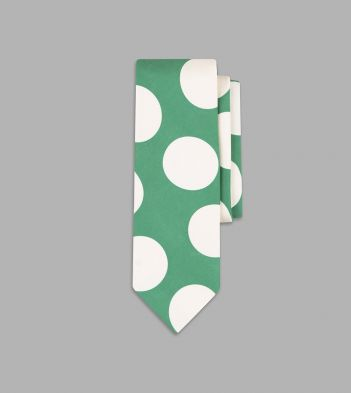 Green and White Jumbo Spot Print Silk Tie