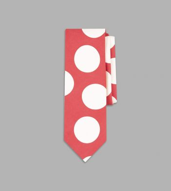 Red and White Jumbo Spot Print Silk Tie