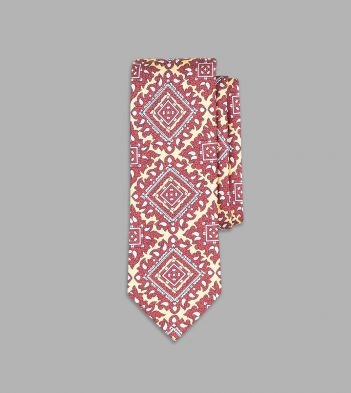 Buff and Red Intricate Paisley Print Silk Tie
